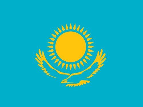 哈萨克斯坦国旗呈横长方形,长与宽之比为2:1.